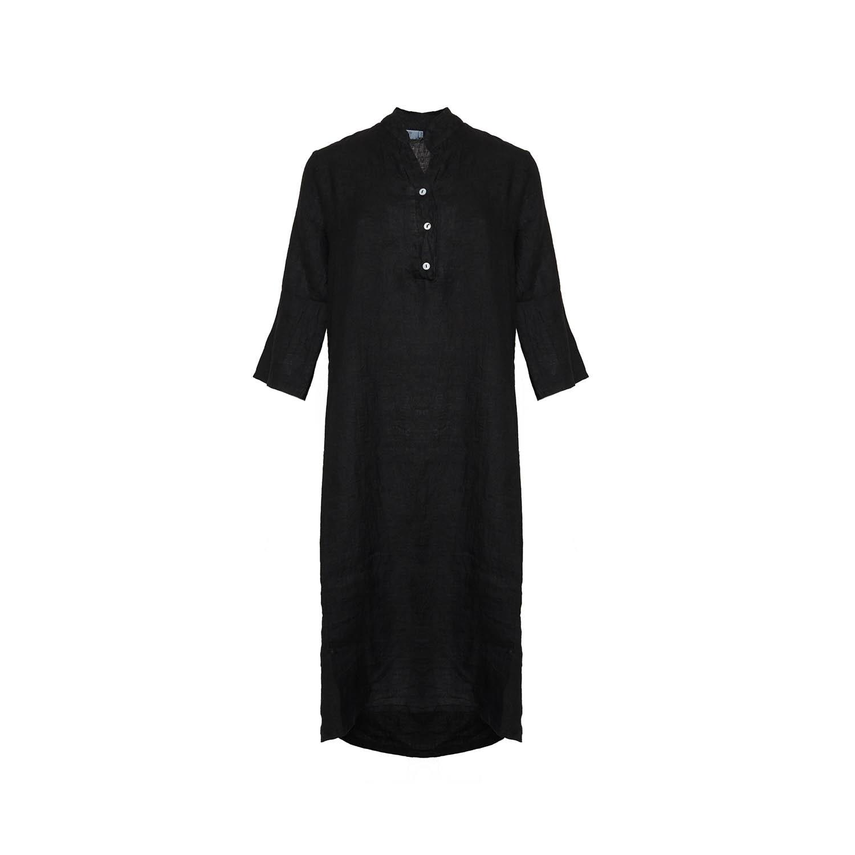 Image of   Tiffany 18970 X Long Shirt Dress Linen, Black