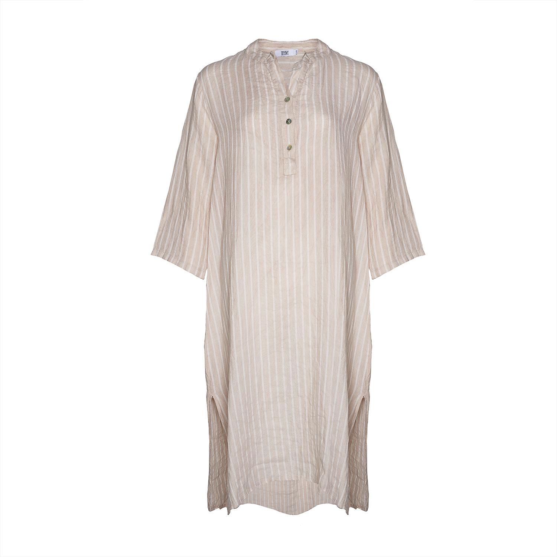 Image of   Tiffany 18970 X Long Shirt Dress Linen, Stripes Ab Beige Sabbia