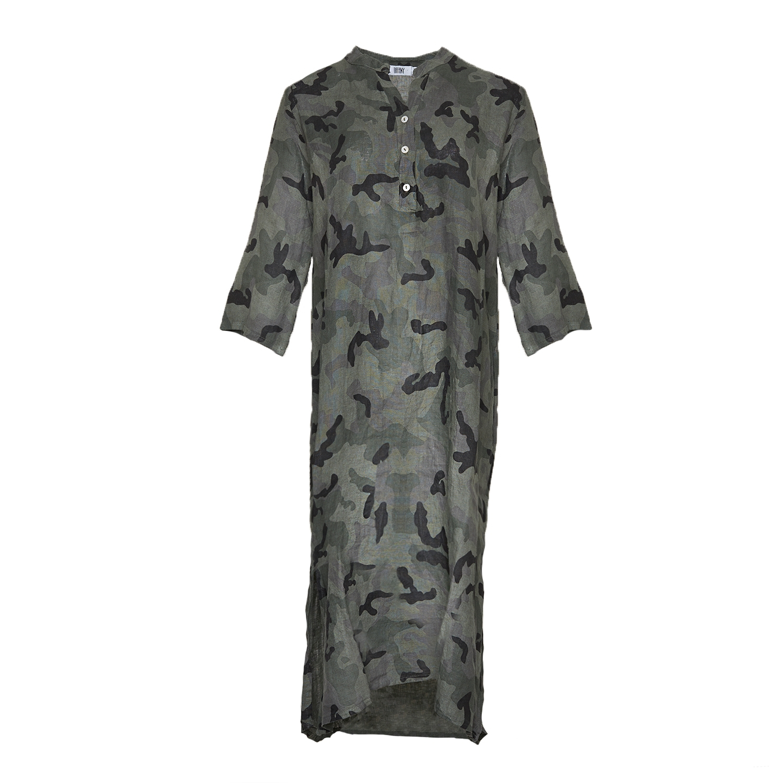 Image of   Tiffany 18970 X Long Shirt Dress Linen, Camouflage