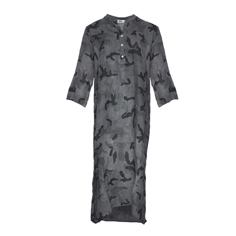 Image of   Tiffany 18970 X Long Shirt Dress Linen, Camouflage Grey