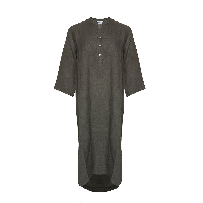 Image of   Tiffany 18970 X Long Shirt Dress Linen, Dark Army