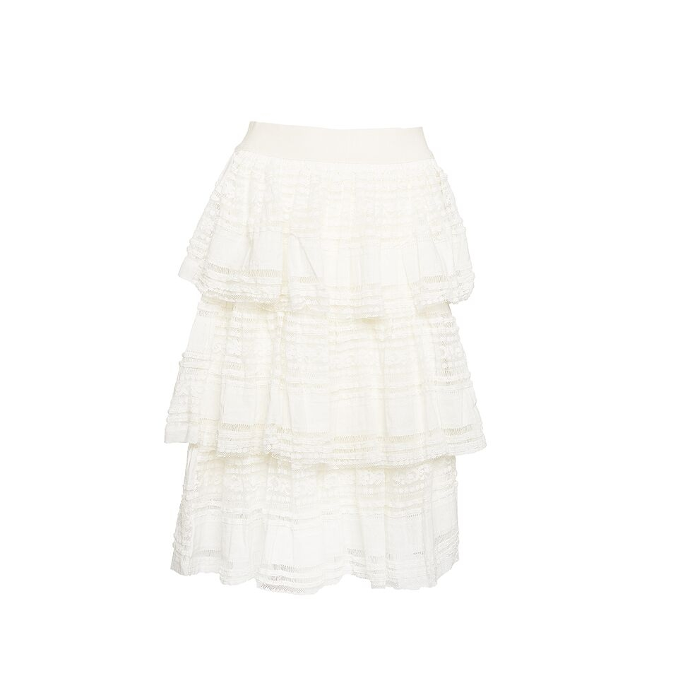 Noella Lace Skirt, White