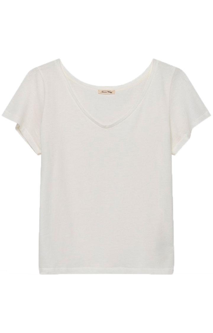 Image of American Vintage Bip54e T-shirt Mc Col V, Blanc
