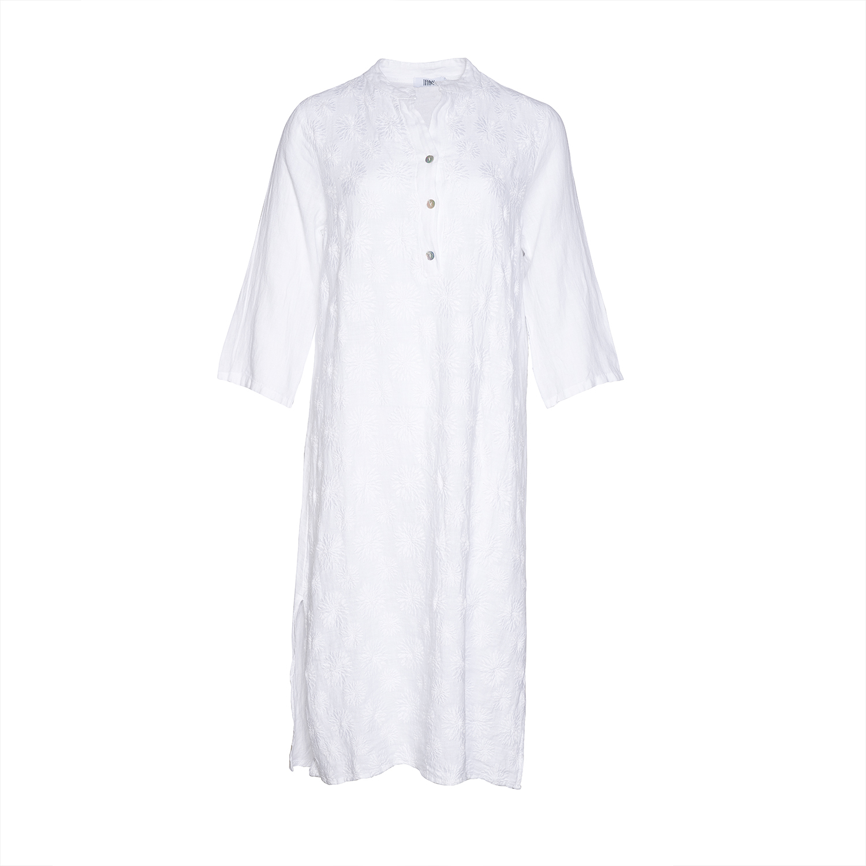 Image of   Tiffany 18970 X Long Shirt Dress Linen, Lace White