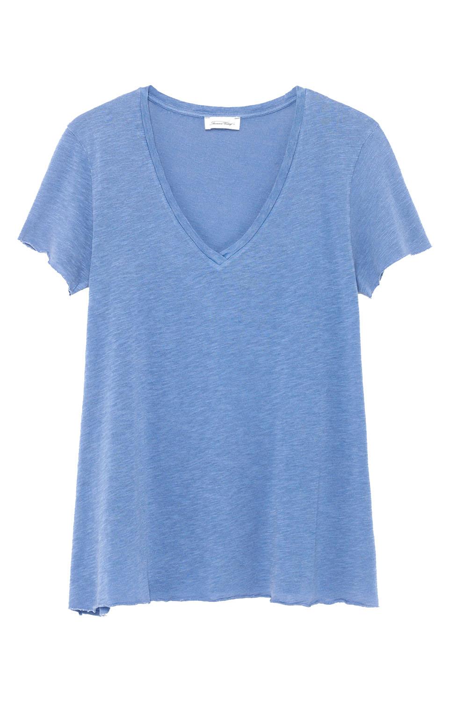 Image of American Vintage Kobi57 T-shirt Mc Col V, Sauge Vintage