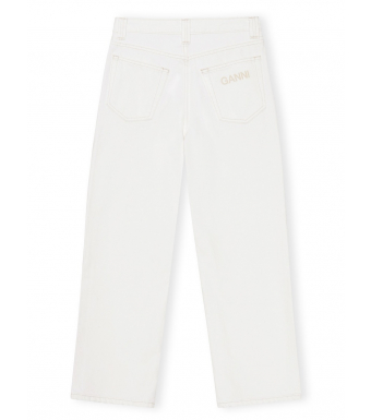 Ganni F5722 High-waisted Jeans Cropped Classic Denim, 151 Bright White