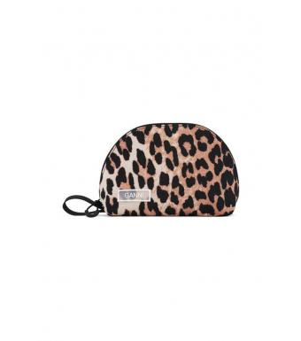 Ganni toilettry bag small leopard