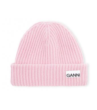 Ganni A3531 Hat Rib Knit Acc, Pink Nectar