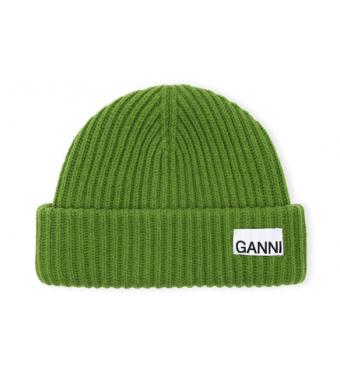 Ganni A3534 Hat Rib Knit Acc, Flash Green