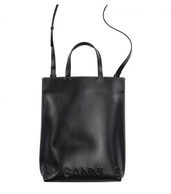 Ganni A3586 Medium Crossbody Bag Banner, Black
