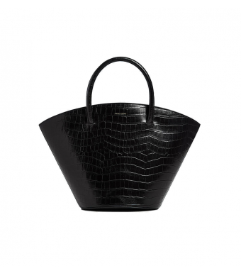 Anine Bing Mini Holland Bag A-13-0073, Black Croco