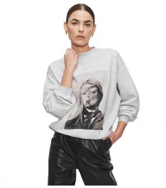 Anine Bing Ramona AB x TO Sweatshirt, Heather Grey