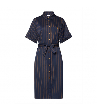 Tiffany Adele Dress, Blue/brown Pinstripe