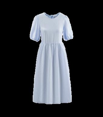 Noella Casey Dress Seersucker, Light Blue Stripes