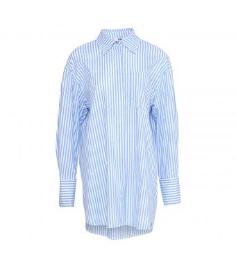 Tiffany Kalo Shirt Cotton Poplin, Light Blue Stripe/white