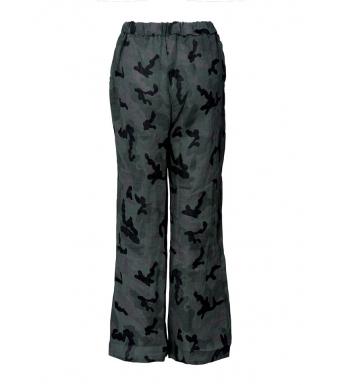 Tiffany 18870 Linen Pants, Green Camouflage