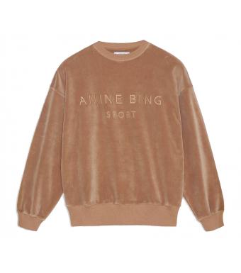 Anine Bing Evan Sweatshirt Velour S-08-5188, Taupe