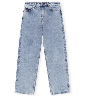 Ganni F5718 High-waisted Cropped Jeans Classic Denim, 687 Washed Indigo