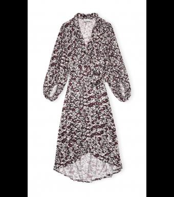 Ganni F5762 Wrap Dress Printed Crepe, 252 Phantom