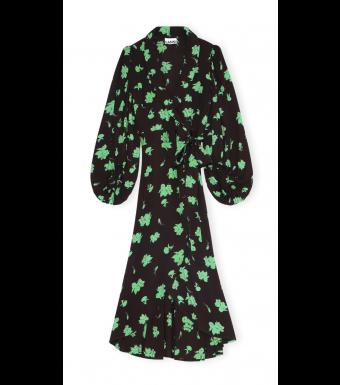 Ganni F5762 Wrap Dress Printed Crepe, 897 Mole