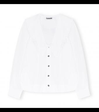 Ganni F5778 V-neck Shirt Cotton Poplin, 151 Bright White
