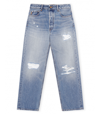 Ganni F5796 Low-waist Relaxed Fit Jeans Overwashed Denim, 630 Denim