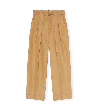 Ganni F5874 Pants Cotton Canvas, 177 Tigers Eye