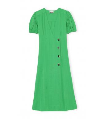 Ganni F5942 Wrap Dress Ripstop Viscose, 801 Kelly Green