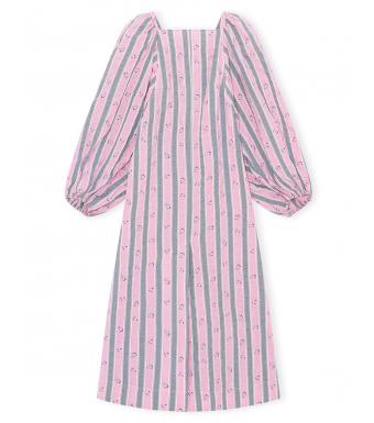 Ganni F6001 Dress Cotton Seersucker, 478 Pink Nectar