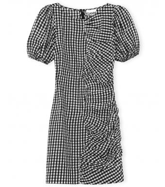 Ganni F6006 Dress Seersucker Check, 099 Black