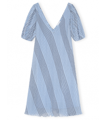 Ganni F6105 Dress Pleated Georgette, 694 Heather