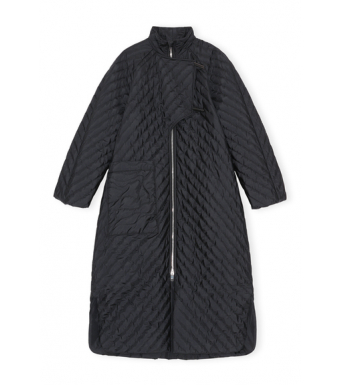 Ganni F6199 Coat Recycled Ripstop Quilt, Black