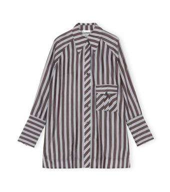 Ganni F6314 Shirt Dress Lightweight Stripe, 252 Phantom