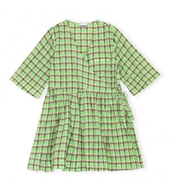 Ganni F6316 Mini Dress Seersucker Check, Oyster Gray