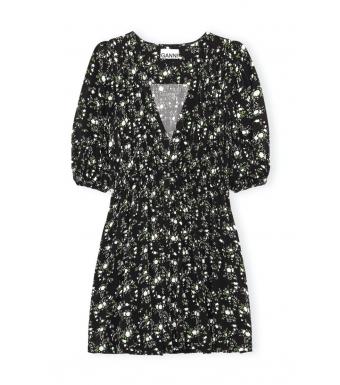 Ganni F6331 Mini Dress Printed Crepe, 252 Phantom
