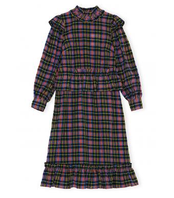 Ganni F6405 Dress Seersucker Check, 099 Black
