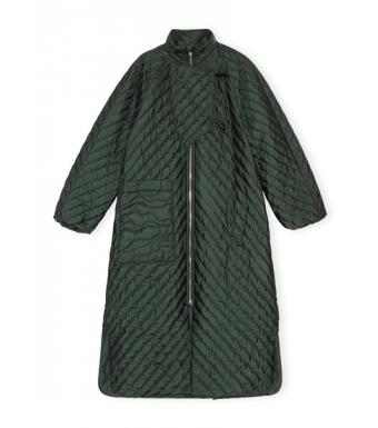 Ganni F6441 Coat Recycled Ripstop Quilt, Dark Green