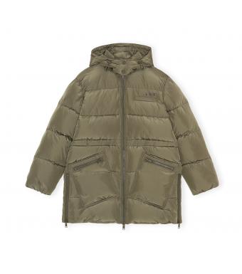Ganni F6451 Puffer Jacket Tech Puffer, 861 Kalamata