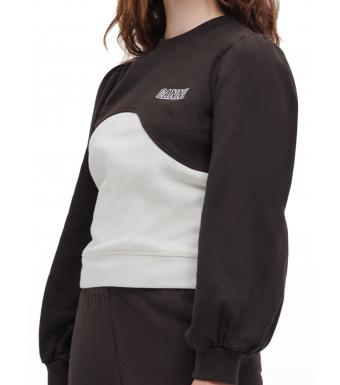 Ganni T2963 Puff Shoulder Wave Sweat Software Isoli, 897 Mole