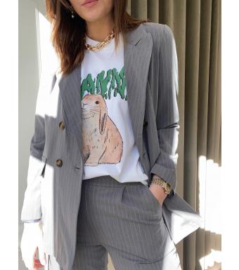 Noella Forte Blazer Viscose, Grey/white Stripe