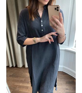 Tiffany 18970 Shirt Dress Double Cotton, Dark Grey
