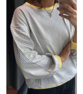 Noella Tatum Sweatshirt Cotton, Yellow/purple Stripe