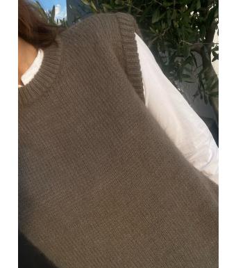 Tiffany Cathy Slipover Knit, Greyish Brown