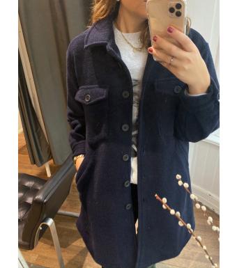 Tiffany Valley Long Coat Wool, Blue Navy