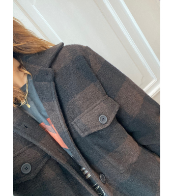Tiffany Valley Coat Checked Wool, Brown/black