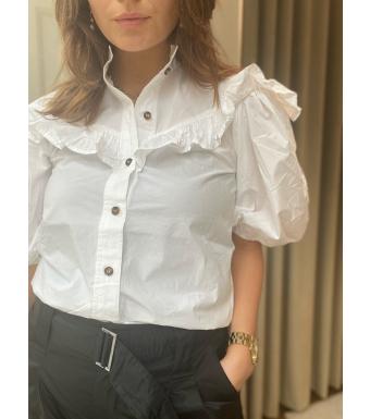 Ganni F5820 Frill Shirt Cotton Poplin, 151 Bright White