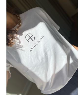 Anine Bing T-shirt Hudson Monogram Hvid