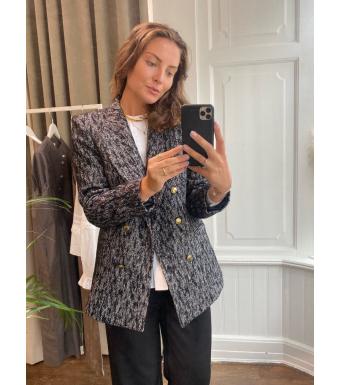 Anine Bing Dionne Blazer, Black Tweed, Gold Button