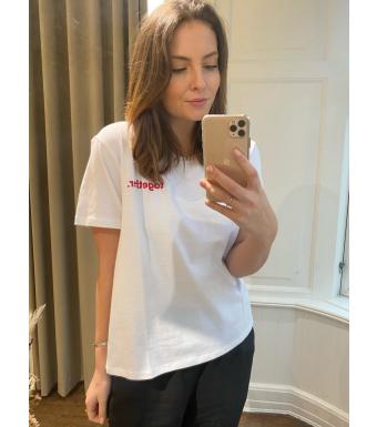 Noella Viva Printed T-shirt Cotton, White Together
