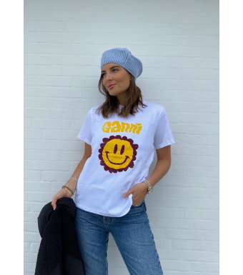 Ganni T2868 T-shirt Smiley Basic Cotton Jersey, 151 Bright White